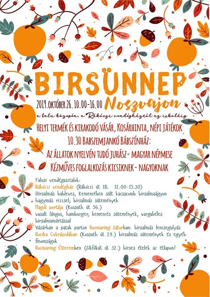 Birsünnep, birs fesztivál 2019 programok